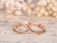 DUPUY 14K Rose Gold Diamond Eternity Curved V Diamond Wedding Ring