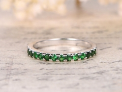 DUPUY 14K White Gold 2mm Half Eternity Tsavorite Wedding Band