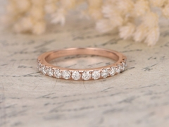 DUPUY Valentine 14K Rose Gold Half Eternity Moissanites Engagement Ring