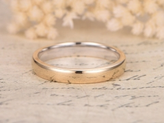 DUPUY Classic Plain Wedding Gold Ring Yellow Gold Unisex Men Ring