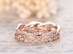 DUPUY Twist Unique Full Eternity Diamond Wedding Band Set