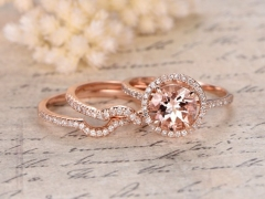 DUPUY 8mm Round Cut Morganite Engagement Ring Curved Wedding Band