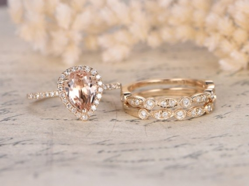 DUPUY  Pear Shaped 6x8mm Morganite Engagement Ring Set