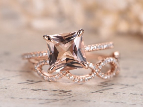 DUPUY Split Shank Band 8mm Morganite Engagement Ring Set