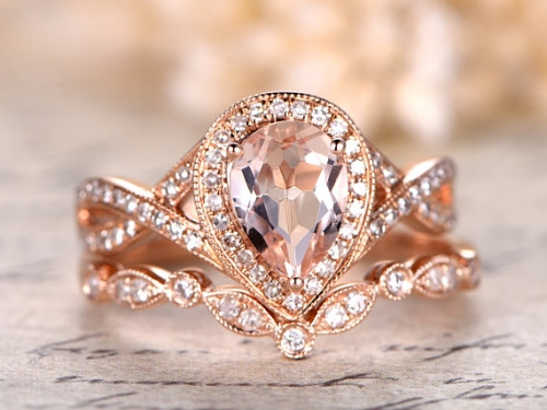 DUPUY Deco 6x8mm Pear Cut Pink Morganite Ring Set Split Shank Band