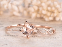 DUPUY  Split Shank Band 8mm Morganite Engagement Ring